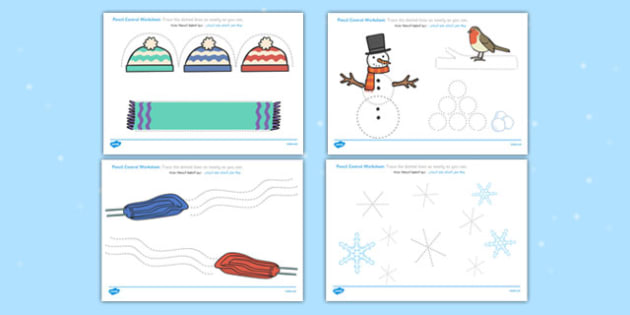 Winter Pencil Control Worksheets Arabic Translation - arabic, winter, pencil control, worksheets
