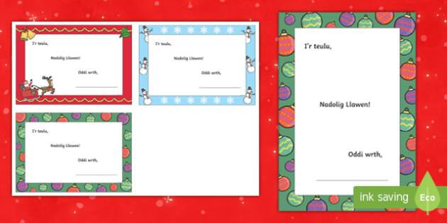 Merry Christmas Welsh Writing Template-Welsh