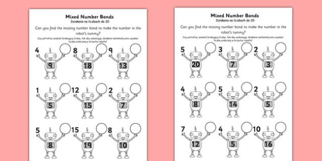 Mixed Number Bonds to 20 on Robots Worksheet Polish Translation - polish, mixed, number, bonds, 20