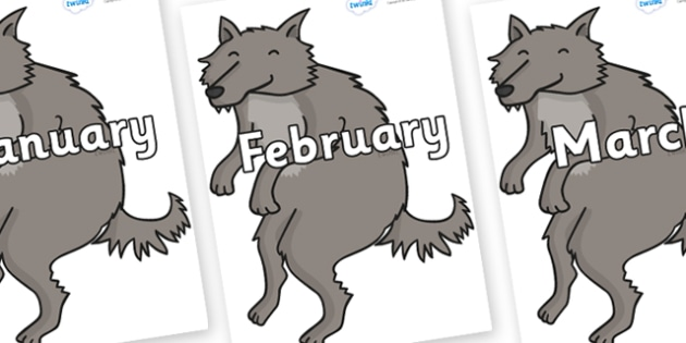 Months of the Year on Wolf - Months of the Year, Months poster, Months display, display, poster, frieze, Months, month, January, February, March, April, May, June, July, August, September