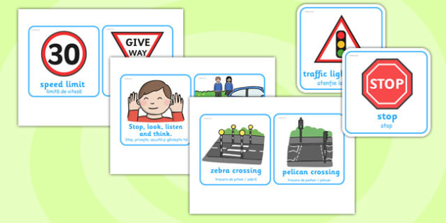 Road Safety Cards Romanian Translation - romanian, road safety, cards, road, safety