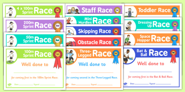 Sports Day Race Certificates Pack - sports day, certificates