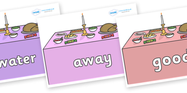 Next 200 Common Words on Christmas Dinner (Tables) - Next 200 Common Words on  - DfES Letters and Sounds, Letters and Sounds, Letters and sounds words, Common words, 200 common words