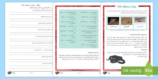 حيوانات قاتلة - أوراق عمل متمايزة للفهم القرائي - حيوانات قاتلة، فتاكة، مميتة، حيوانات، متمايز، أوراق ع