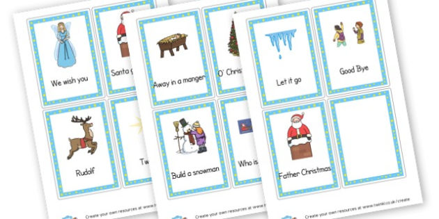 Christmas Cue Cards For Singing - Christmas Carols Primary Resources - Xmas, Songs, Carols