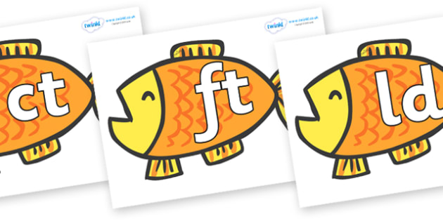 Final Letter Blends on Goldfish to Support Teaching on Brown Bear, Brown Bear - Final Letters, final letter, letter blend, letter blends, consonant, consonants, digraph, trigraph, literacy, alphabet, letters, foundation stage literacy