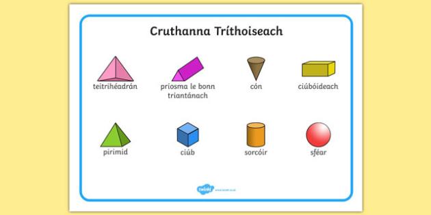 Cruthanna Tríthoiseach 3D Shape Word Mat Gaeilge - irish, gaeilge, Word mat, writing aid, 3D Shape names, Shape Flashcards, Shape Pictures, Shape Words, 3D flashcards