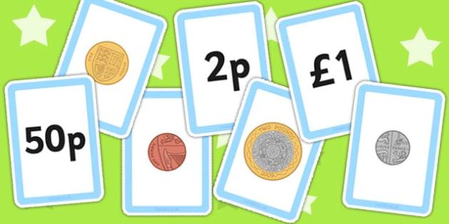 New British (UK) Coin Value Matching Card Activity - money,