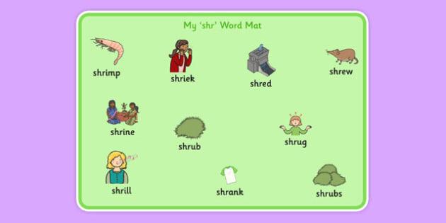 SHR Word Mat - speech sounds, phonology, articulation, speech therapy, cluster reduction