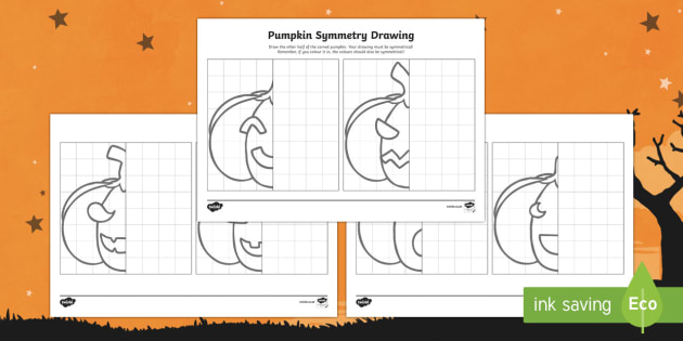 Pumpkin Symmetry Drawing Activity Sheets