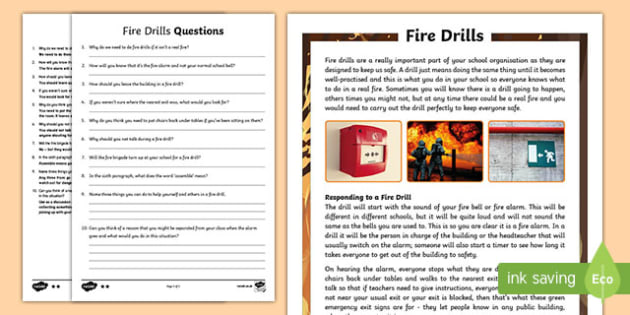 Fire Drills KS2 Differentiated Reading Comprehension Activity