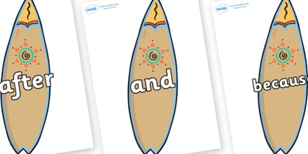 Connectives on Surf Boards - Connectives, VCOP, connective resources, connectives display words, connective displays