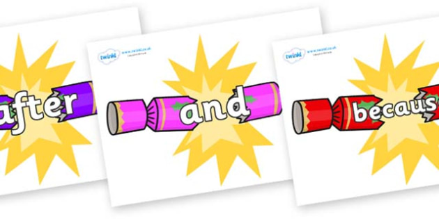 Connectives on Christmas Crackers (Cracking) - Connectives, VCOP, connective resources, connectives display words, connective displays