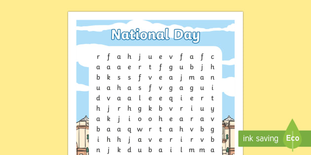 Emirates of the UAE Differentiated Word Search - UAE National Day, UAE, national day, sheikh, khalifa, sheikh khalifa, ADEC, abu dhabi, dubai, sheikh