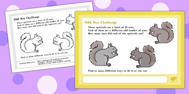 A4 Odd Nut Maths Challenge Poster - challenge, poster, maths, a4