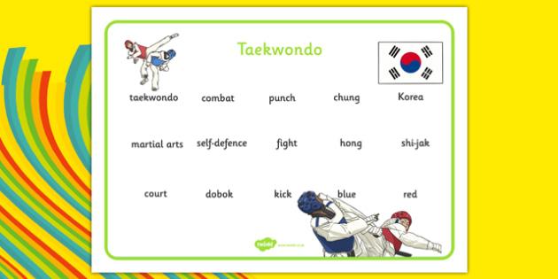 The Olympics Taekwondo Word Mat - the olympics, rio olympics, rio 2016, 2016 olympics,