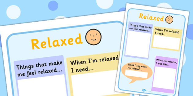 Relaxed Writing Template - feelings, emotions, SEN, class management, charts