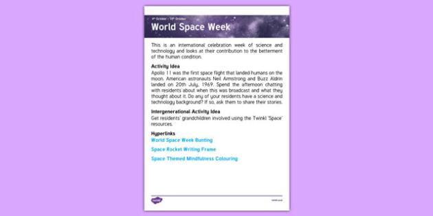 Elderly Care Planning October 2016 World Space Week - Elderly Care, Calendar Planning, Care Homes, Activity Co-ordinators, Support, October 2016