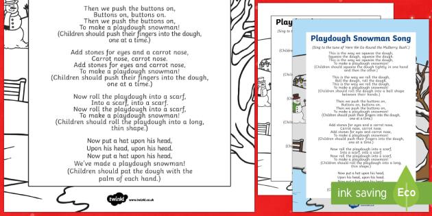 Playdough Snowman Song - EYFS, Early Years, Christmas, winter, Playdough Play,Dough Disco, finger gym, fine motor skills, Phy