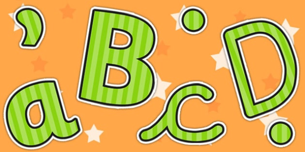 Green Striped Themed Size Editable Display Lettering - display