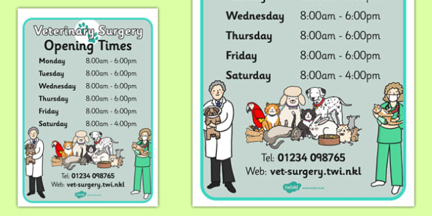 Vets Surgery Opening Times - Vet Surgery, pets, pet, role play, vets role play, Opening Times, open, vet, operation, xray, nurse, medicine, vaccine, bandage, cat, dog, rabbit