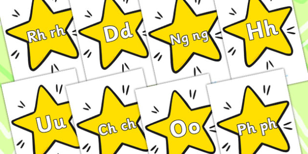 A Z On Stars Welsh - alphabet, alphabet display, EAL, language