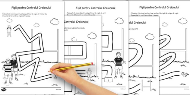 Fisa pentru Controlul Creionului, Rugbi - dexteritate fina,  , Romanian