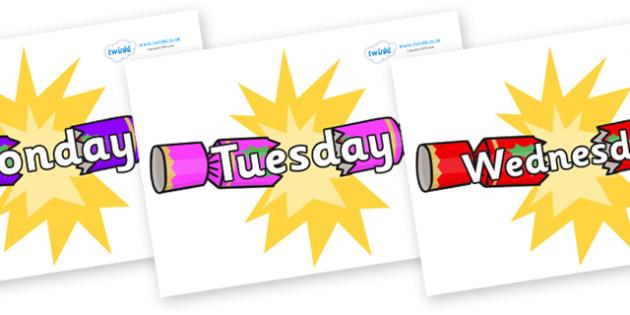 Days of the Week on Christmas Crackers (Cracking) - Days of the Week, Weeks poster, week, display, poster, frieze, Days, Day, Monday, Tuesday, Wednesday, Thursday, Friday, Saturday, Sunday