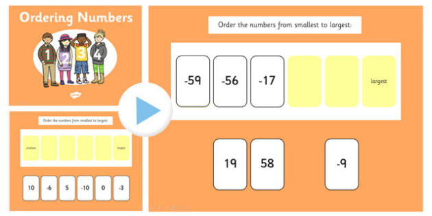 Ordering Numbers From Minus 100 to 100 PowerPoint - ordering