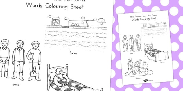 The Farmer and His Sons Words Colouring Sheet - australia, colour