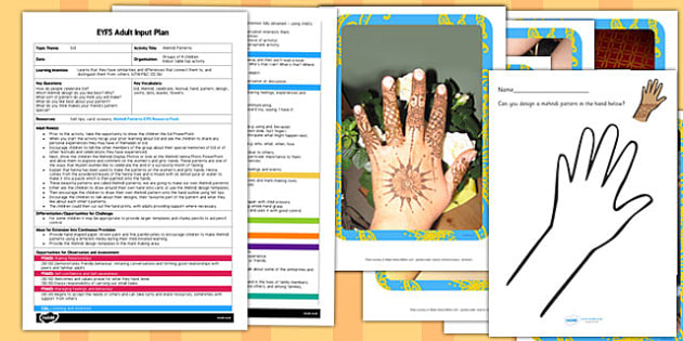 Mehndi Patterns EYFS Adult Input Plan and Resource Pack