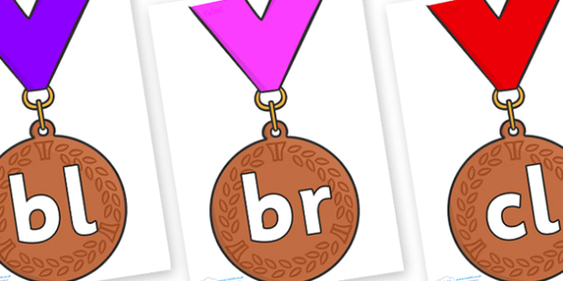 Initial Letter Blends on Bronze Medal - Initial Letters, initial letter, letter blend, letter blends, consonant, consonants, digraph, trigraph, literacy, alphabet, letters, foundation stage literacy