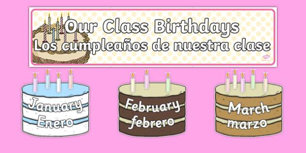Editable Birthday Display Set Cakes Spanish Translation--translation