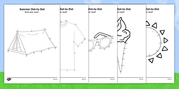Summer Dot-To-Dots Arabic Translation - arabic, EYFS, Early Years, counting, fine motor skills, summer, holidays, dot-to-dot