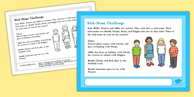 A4 Nick Name Maths Challenge Poster - displays, posters, display