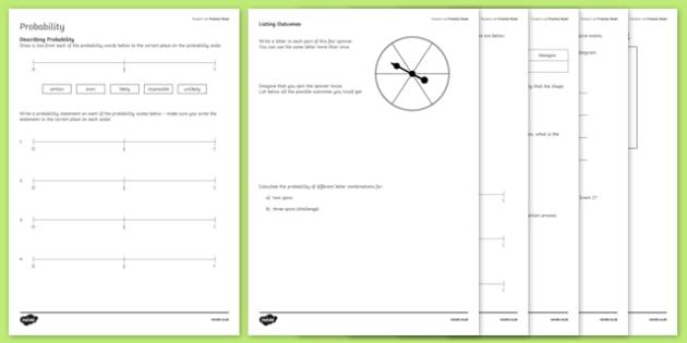 Student Led Practice Probability Activity Sheet, worksheet