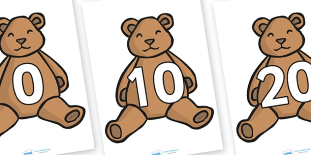 Numbers 0-100 on Teddy Bears (in tens) - Teddy Bear, Counting in 10s, Foundation Numeracy, Number recognition, Number flashcards, counting, Teddy Bears, display, posters
