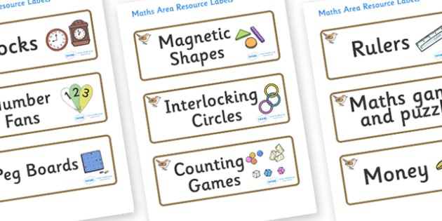 Wren Themed Editable Maths Area Resource Labels - Themed maths resource labels, maths area resources, Label template, Resource Label, Name Labels, Editable Labels, Drawer Labels, KS1 Labels, Foundation Labels, Foundation Stage Labels, Teaching Labels