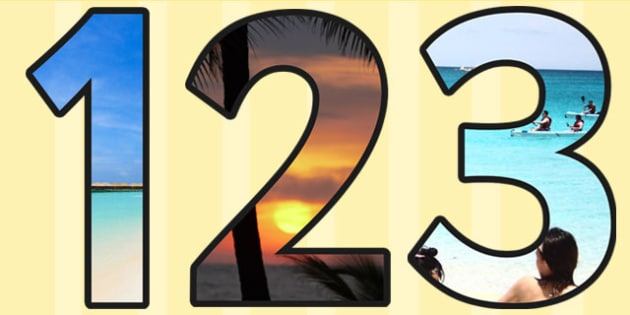 Summer Themed Photo A4 Display Numbers - summer, numbers, display