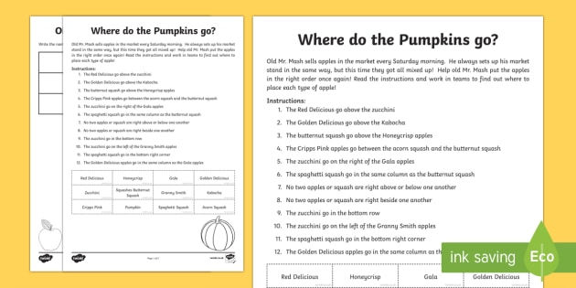Where do the pumpkins go? Activity Sheet