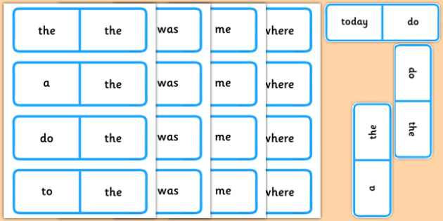 Year 1 Common Exception Words Dominoes - year 1, common exception words, dominoes, activity, common exception, words