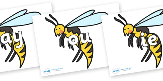 Phase 5 Phonemes on Wasps - Phonemes, phoneme, Phase 5, Phase five, Foundation, Literacy, Letters and Sounds, DfES, display