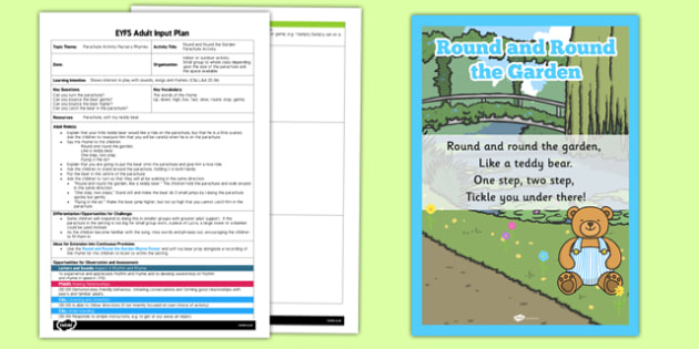 Round and Round the Garden Parachute Activity EYFS Adult Input Plan - rhyme, PE, physical education, parachute games