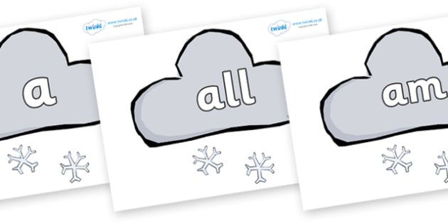 Foundation Stage 2 Keywords on Weather Symbols (Snow) - FS2, CLL, keywords, Communication language and literacy,  Display, Key words, high frequency words, foundation stage literacy, DfES Letters and Sounds, Letters and Sounds, spelling