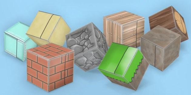 Textured Paper Model Building Blocks Pack - build, blocks, minecraft