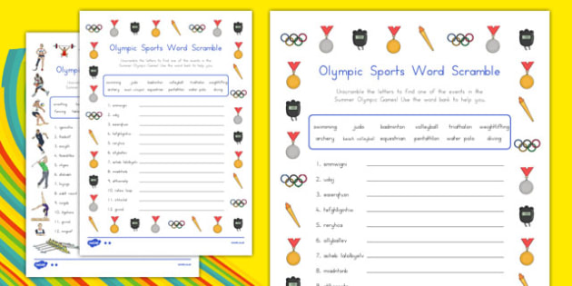 Olympic Sports Differentiated Word Scrambles Activity Sheet - usa, america, olympics sports, rio olympics, word scramble, pack, worksheet