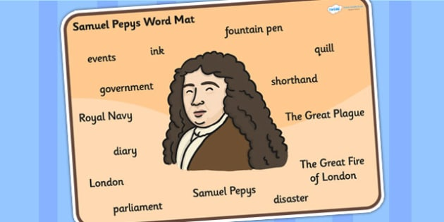 Samuel Pepys Word Mat - Samuel Pepys, word mat, topic words, topic mat, themed word mat, writing aid, mat of words, key words, keywords, key word mat