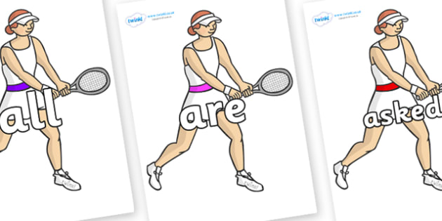 Tricky Words on Tennis Players - Tricky words, DfES Letters and Sounds, Letters and sounds, display, words