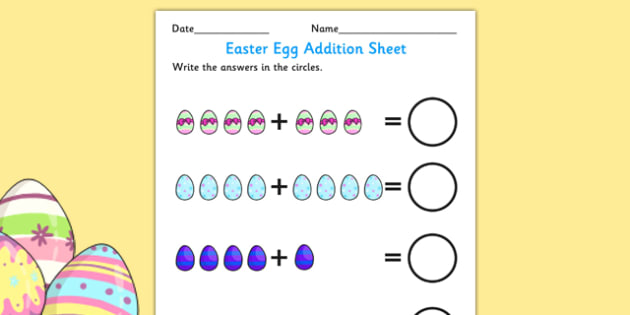 Easter Addition Sheet - easter, addition, easter addition, easter numeracy, easter numbers, easter numeracy activities, easter addition activity, eggs