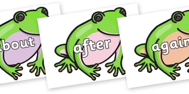 KS1 Keywords on Green Tree Frog - KS1, CLL, Communication language and literacy, Display, Key words, high frequency words, foundation stage literacy, DfES Letters and Sounds, Letters and Sounds, spelling